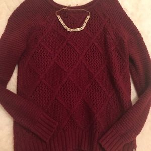 Knit American Eagle Maroon Red Sweater